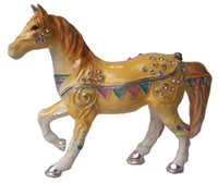 Wholesale Yellow ornated horse jewelry box Trinket Box Collectible horse giftwares horse home decor