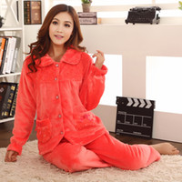 Regular Women Robe 2014 Limited Time-limited Polyester Women Flannel Sleep Set Long Sleeve Length Pants Underwear Twinset Sleepwear Lounge 1028