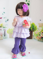 Wholesale New design girl solid color pants cotton ruffle trousers leggings for girls many color chooses pc
