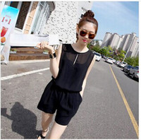Wholesale Fashion Jumpsuits sexy Union Suits Women s suits solid short top pants one peice Jumpsuits Rompers chiffon Black H227