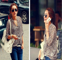 3/4 Sleeve Chiffon  Summer 2014 New fashion Women Wild Leopard print chiffon blouse lady sexy Long-sleeve top S M L XL XXL loose plus size V neck leopard blouse
