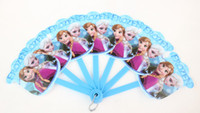 Wholesale Frozen Fans baby girls princess Elsa Anna folding fan kids Snow Queen Summer hand fan