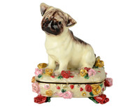 animal trinket boxes - Dog giftwares animal trinket box pewter jewel box ornament with inlaid crystal pewter enamel