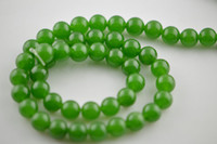 Wholesale 10mm Green Jade Smooth Stone Round Loose Beads fit Fashion Necklace jewelry making inches per strand