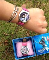 Cheap Frozen Frozen Anna Elsa Sets Watch and Wallet Purse Kids Fashion Watches FROZEN children watch box children birthday gift Wristwatches