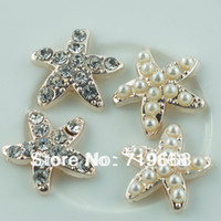 Quilt Accessories Buttons Flatback Hot Sale in Stock!50pcs lot (LO-068) starfish rhinestone button pearl wedding Invitation embellishment Scrapbooking Napkin Ring