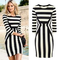 Wholesale TOMTOCE New Fashion Women Celeb Bodycon Dress Striped Crew Neck Sleeve Clubwear Mini Dress Black and WhiteG0334B