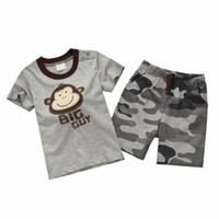 Boy Summer Short Children Suits 2413 Boy Monkey T-shirts Camouflage Shorts 2 Piece Suit