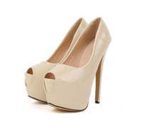 Women basic pump - Women s Basic Platform Nude Pumps Patent PU Leather cm High Stiletto Heel Wedding Shoes