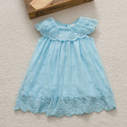 Summer Cute Flower Lace Embroider For Baby Gilrs Sleeveless Net Yarn Big Lapel Dress Pink Yellow Purple Blue Children Clothing