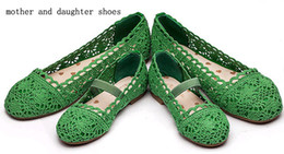 Little Girls Shoes Hollow Style Mother Daughter Shoes 4Colors Blue Green Orange Hot Pink Outer Lace Inner Pu Leather Children's Dress Shoes