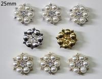 Wholesale mm Flatback Rhinestone Button For Hair Flower Wedding Invitation Pearl Button BHP08022