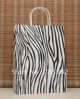 Paper Recyclable ss-493 Big size zebra paper bag, 33X25X12CM, Kraft gift bag with handle,Wholesale price (SS-493)