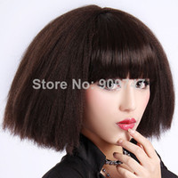 Light Brown Curly Synthetic Hair NEW 2014 fashion Heat Resistant Explosion wigs Spice Girls Synthetic Hair party wigs Short Synthetic Brown Curls Wig