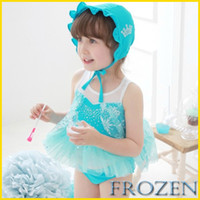 Wholesale In Stock Frozen Girl Swimsuit Anna Elsa Princess Beach Swimsuit Piece Suits Hat Dress Shorts Fashion Queen Lace Swimsuit GZ GD232