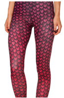 "Leggings Skinny,Slim Women Red Color,Fashion Sexy, Digital Print ""Fish Scale"" Fat Burning Seam Girl's Skinny Leggings,Milk Silk,Free Shipping"