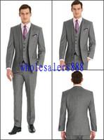 men slim fit suits - Custom Side Vent Slim Fit Groom Tuxedos Light Grey Best man Notch Lapel Groomsman Men Wedding Suits Bridegroom Jacket Pants Tie Vest J502