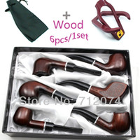 wooden smoking pipe - 1 Set Elegant Durable Mens Tobacco Wood Wooden Smoking Pipe Cigar Cigarette Pipes With Stand And Pouch NS78