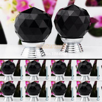 Ceramic  new TK0738# 8 Pcs Set 30mm Wardrobe Knob Glass Crystal Cabinet Drawer Knob Kitchen Pull Handle Door Wardrobe Hardware Black #6 TK0738