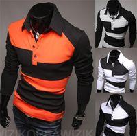 Cotton Cardigan Hoodies,Sweatshirts 2014 New Polo Shirt New Summer Shirts Fashionable Men's Polo Shirts Casual Fitness Color Patchwork Shirts M L XL XXL H0345
