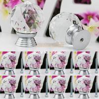 Ceramic  new TK0736# Hot Sale 8 Pcs Set Glass Crystal Cabinet Drawer Knob Kitchen Pull Handle Door Wardrobe Hardware 30mm White #6 TK0736