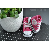 baby converse shoes - Crochet baby shoes unique booties baby girl pink crochet converse shoe