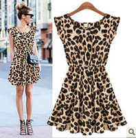 Casual Dresses leopard print dress - 2015 New arrival Leopard printed Dresses for Ladies Women one piece Sleeveless Summer Pleated Skirt O neck Plus size M L XL