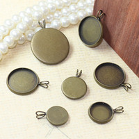 Bohemian antique brass trays - 10 mm Brass Photo Lace Blank Pendant Tray Cameo Antique Bronze CAB Jewelry Findings Setting