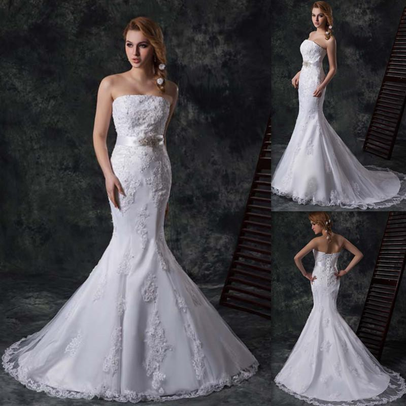 Modern strapless mermaid wedding dresses ivory lace and for Strapless wedding dresses with bling