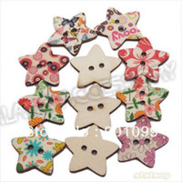 Quilt Accessories Buttons Yes 300pcs lot Promotion Buttons Star shape Colorful Wooden Flatback 2 holes Buttons Sewing buttons Free shipping 19x23 mm 161309