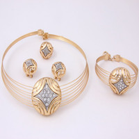 Wholesale 2014 fashion necklace set Europe and America gold plated wedding african costume austrian crystal jewelry sets gifts for girlfriend amp mother