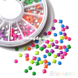 Wholesale-1000pcs 6 Colors Stud Nail Art 3D DIY Design Decoration Stickers Metallic Studs tools
