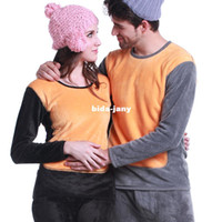 Wholesale New Brand Long Johns Thermal Underwear Women Men Velvet Thickening Cotton Couples Suit Set Sleepwear Winter Pajamas Lingerie