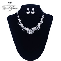 Wholesale New Brand Design Wedding Bridal Party Jewelry Pearl Rhinestone Necklace Earring Jewelry Set For Girls DHL Free
