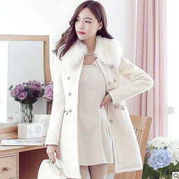 Wholesale QT60 New hot women Winter Woolen trench coat colour lady slim fashion High quality wind coat overcoat S M L XL