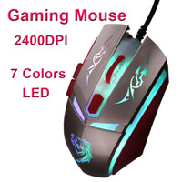 Wholesale Adjustable DPI Buttons Optical USB Wired Gaming Mouse Robot Shaped Colors LED Game Mice for PC Laptop Computer C1892