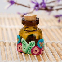 Glass Refillable Bottles Yes Wholesale 2ml Mini Oil bottles with corks in mixed color made of Polymer Clay ,100pcs pack by free shipping!