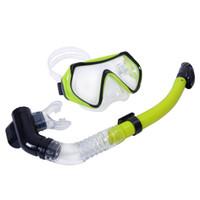 Nuovo 4 colori Scuba Diving Mask Occhialini da nuoto immersioni subacquee snorkeling Attrezzatura temprato di 4 mm vetro temperato + Full Dry Snorkel Set H10103 H10786