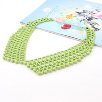 Wholesale 2014 Fashion New Arrival Statement Collar Necklace Silver Plated Green Imitation Pearl Beads Brazil Color Jewelry Necklace