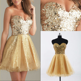 Wholesale Gold Sequined Tulle Sweetheart Homecoming Party Dresses Sexy Graduation Short Prom Gowns Cheap In Stock Under Ready to Wear HY SSJ