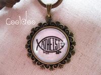 Wholesale Atheism Atheists type No lacework bracket Zinc alloy Glass pendant retro necklace