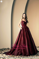 Reference Images Sweetheart Taffeta Burgundy Taffeta evening gowns with sweetheart beaded sequined bodice pocket at side A line skirt prom dresses ZN0022 olisha