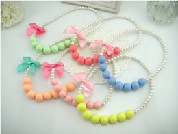 Wholesale Spring summer the new south Korean candy color color bowknot beads necklace girl children act the role ofing is tasted The princess of bow