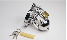 Wholesale 2016 New Small Size Stainless Steel Male Chastity Belt device cage Fetish Sex Product Chastity Catheter SM Urethral Stretching Device male