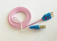 Micro USB 3.0 For Samsung  Micro USB 3.0 1M 3FT Charger Cable LED Light Smile Face Flat Noodle Sync Data Cord for Samsung Galaxy S5 I9600 Note 3 III N9006 3000pcs lot