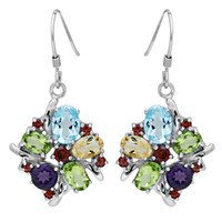 Dangle & Chandelier multicolor Mexican Feelcolor Brand New 5ct Genuine Amethyst Garnet Peridot Topaz Pure Rock Quartz Solid 925 Sterling Silver Dangle Drop Earrings