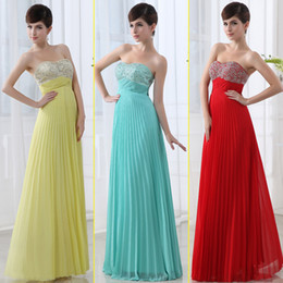 Wholesale 2014 New Chiffon Strapless scoop neck Sleeveless Backless Floor length Sequins Beaded Summer Prom Dresses Bridesmaid Evening Dresses SD002