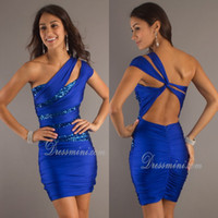 Reference Images Elastic Satin One-Shoulder Sexy Corset One Shoulder Short Mini Sequins Homecoming Dress 2014 Hot sale Royal Blue Sexy Backless Prom Dresses Party Dresses EM02094