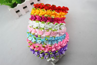 Wholesale 8 Colors Cute Princess Satin Ribbon Rose Children s Headband Bride Headband Baby s Hair Accessories