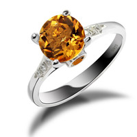 Solitaire Ring South American Women's Feelcolor 2014 New 925 Sterling Silver Genuine Citrine Ring Wholesale Promotion Free Shipping